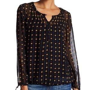 Lucky Brand Metallic Dot Black Blouse